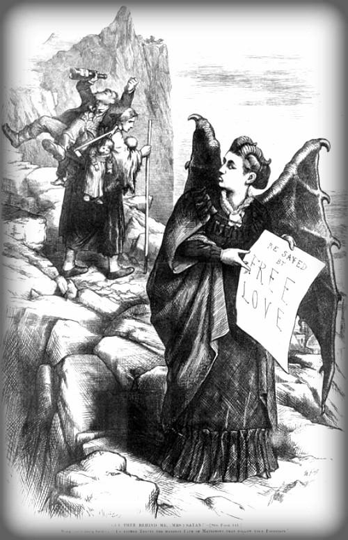 Thomas Nast Caricature of Woodhull, Harper's Weekly, 1872. Image: Wikipedia.
