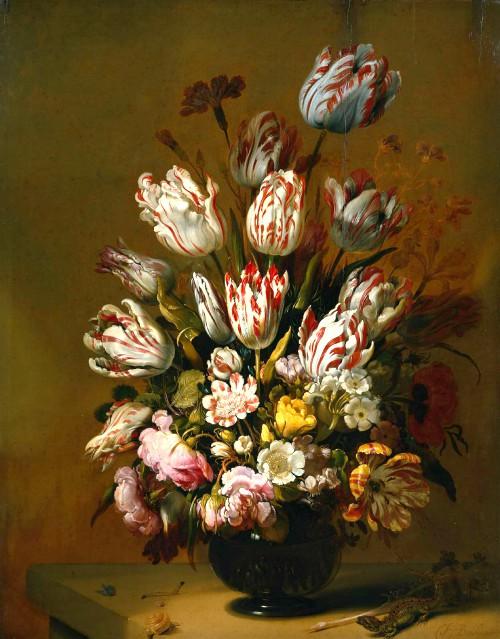 Still Life With Flowers, 1639 Hans Bollongier. Image: Wikipedia.