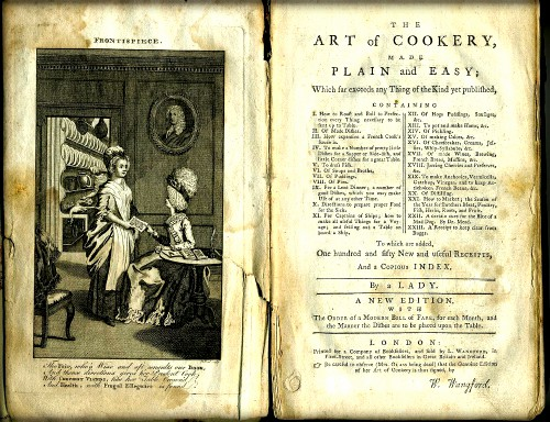 Art of Cookery by Hannah Glasse, 1751. Image: Wikipedia.