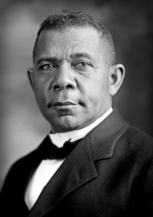black and white photograph of African American male Booker T. Washington, chest to head