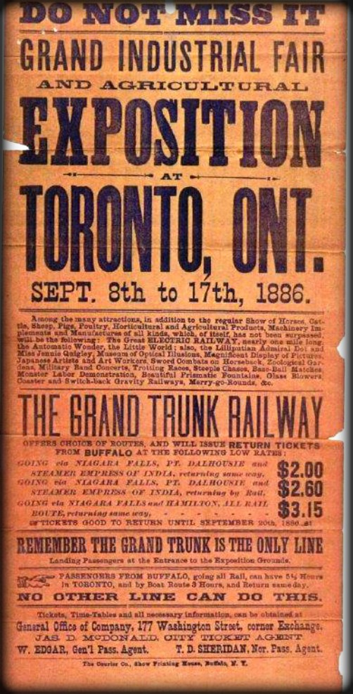 Exposition Railway Poster, 1886. Image: CNE Heritage.com.
