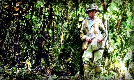 Hiram Bingham at Espiritu Pampa ruins, 1911. Image: Wikipedia.