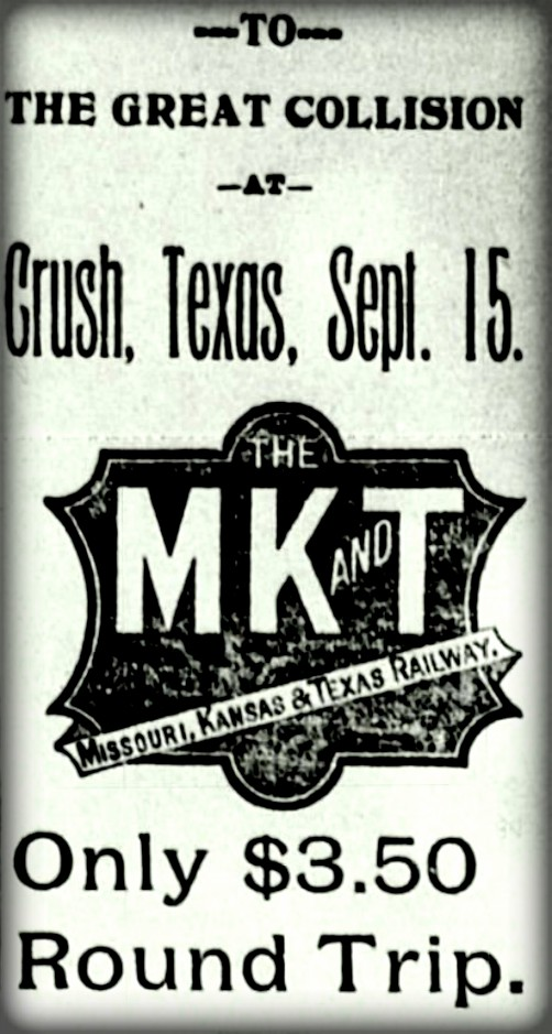 Katy Train Ticket to Crush Crash, Sept. 15, 1896. Image: Wikipedia.
