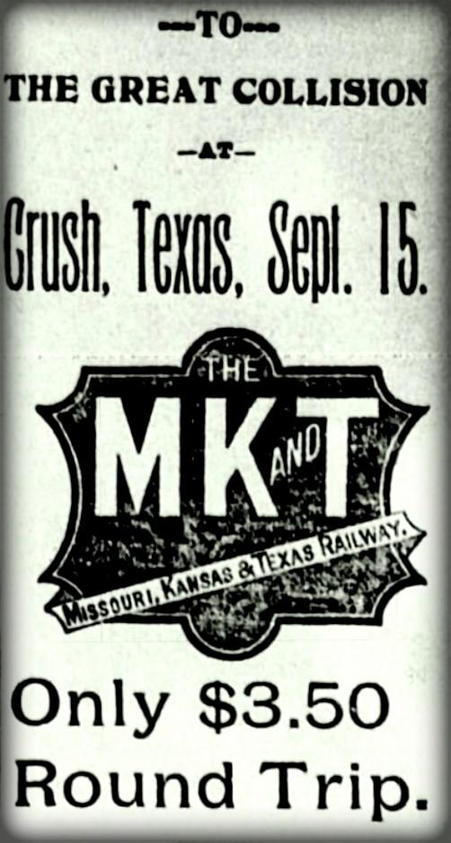 Katy Train Ticket to Crush Crash, Sept. 15, 1896. Image: Wikipedia.