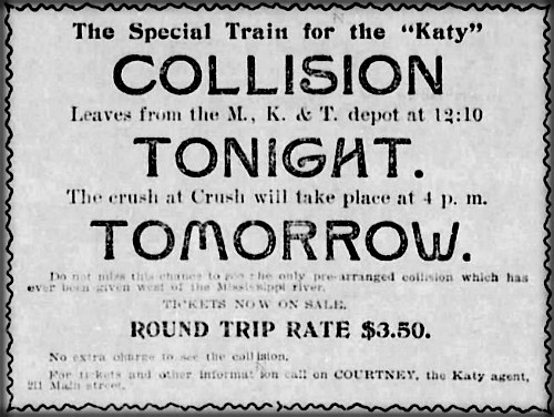 Katy Train As for Crush Crash, Sept. 15, 1896. Image: Wikipedia.