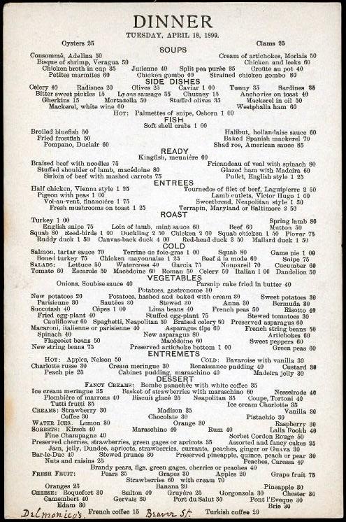Delmonico's Menu, April, 1899. Image: New York Public Library.