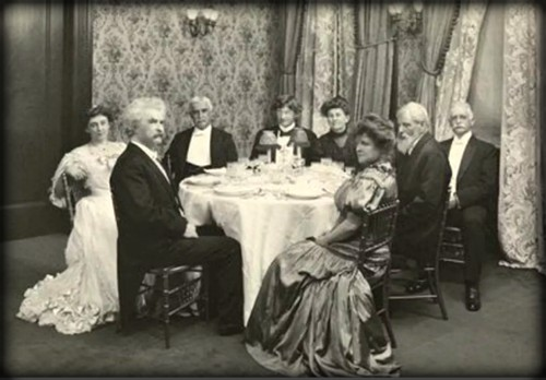 Mark Twain and Friends, Delmonico's. Image: Library of Congress.