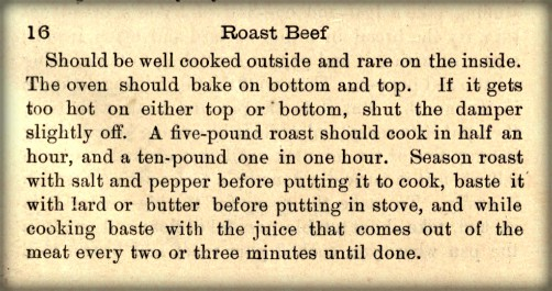 What Mrs. Fisher Knows About Old Southern Cooking, 1881. Roast Beef Recipe. Image: USarchive.org.