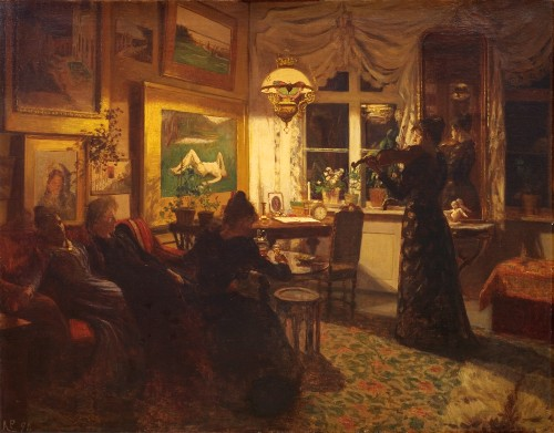 An Evening with Girlfriends. By Lamplight,1891 by Anne Petersen. Image: the-athenaeum.org.