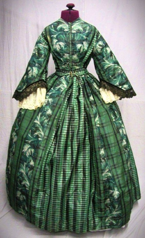 Dress With Fern Inspired Textile Pattern, C, 1860. Image from SewBeautiful, Pinterest.