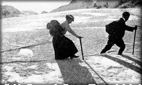 Elizabeth Le Blond Climbing Moonlit Glacier. Image: Pearson's Magazine.