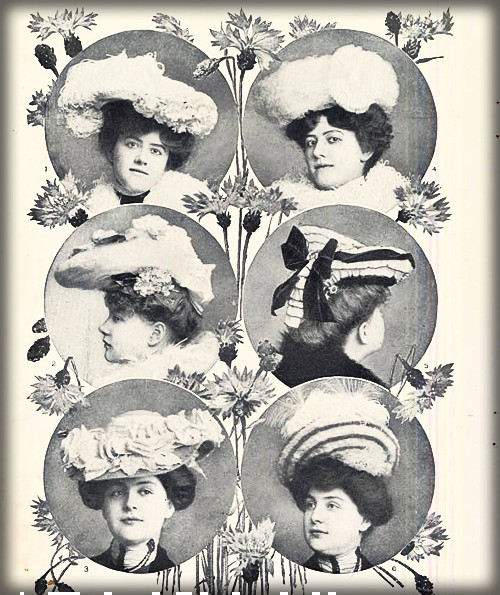Hats for Spring 1902 by Myrtle Tyrel Kirby. Image:Scripps College Library.