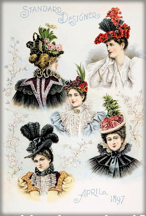 Mauve Decade Hats, c. 1890s. Image: Wikipedia.