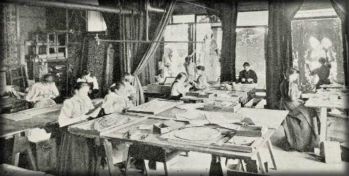 Tiffany Girls Glass-cutting-Dept. 1894. Image: Art Interchange.