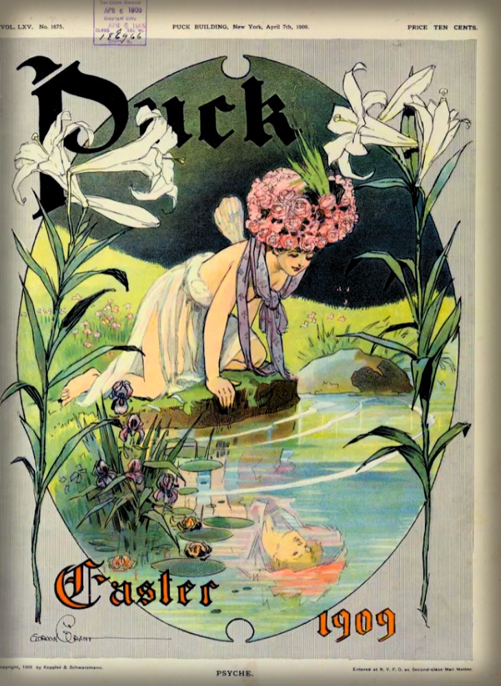 Psyche in Easter Bonner Admires Her Reflection, Puck Magazine, 1909. Image: Library of Congress.