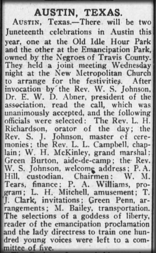 Juneteenth Celebrations in Austin, Clipping from The New York Age, 1914.