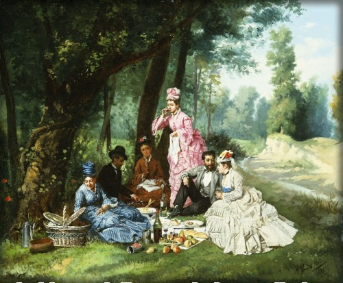 The Picnic, 1874 by Antonio Garcia Mencia, Image: Athenaeum.org.