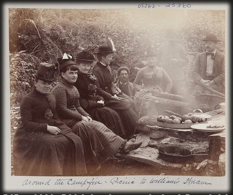 Around the campfire: picnic to William Stream, 1894-1891, Image: Library of Congress.