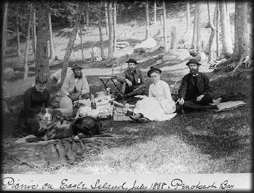 Picnic on Eagle Island, Penobscot Bay, July 1888. Image: Library of Congress.