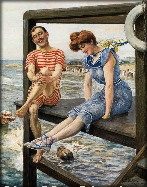Bathing Pleasures by Oscar Arthur Bluhm, c. 1900. Image: Athenaeum.org.