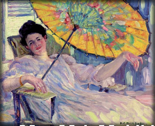 Woman with Parasol by Frederick Carl Frieseke c. 1912. Image: Wikipedia.