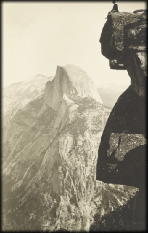 Man sitting on Glacier Point, c, 1908.C Image: Library of Congress.