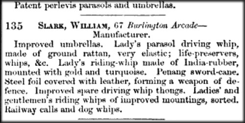 Victorian Parasols Entry From Great Exhibition Catalogue, 1851.