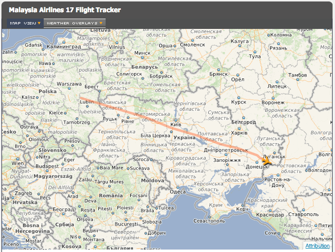 Malaysian Airlines flight path
