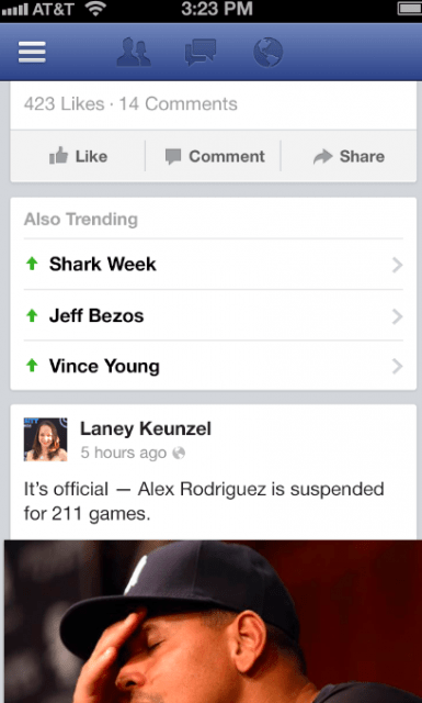 Facebook Trending Topics (Quelle: mashable.com)