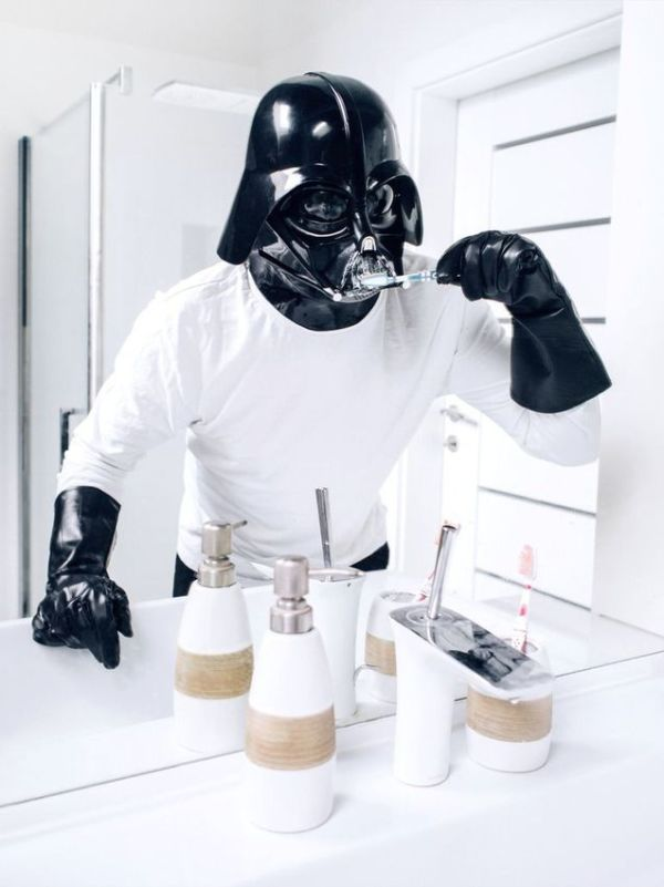 Darth Vader Brushing His Teeth Pawel Kadysz Routine Dental Hygiene White Sink Bathroom Decor Star Wars Toothbrush Toothpaste