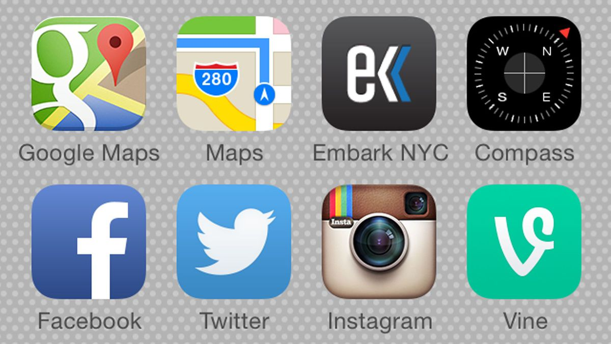 iPhone apps arranged into themed rows
