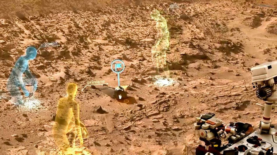 Three virtual figures on a Mars-scape