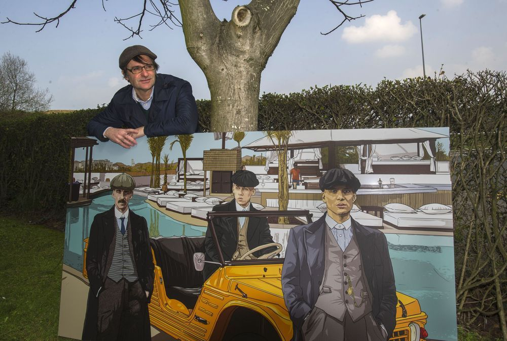 Guilllermo P. Larrauri with one of his larger homages to the BBC series Peaky Blinders