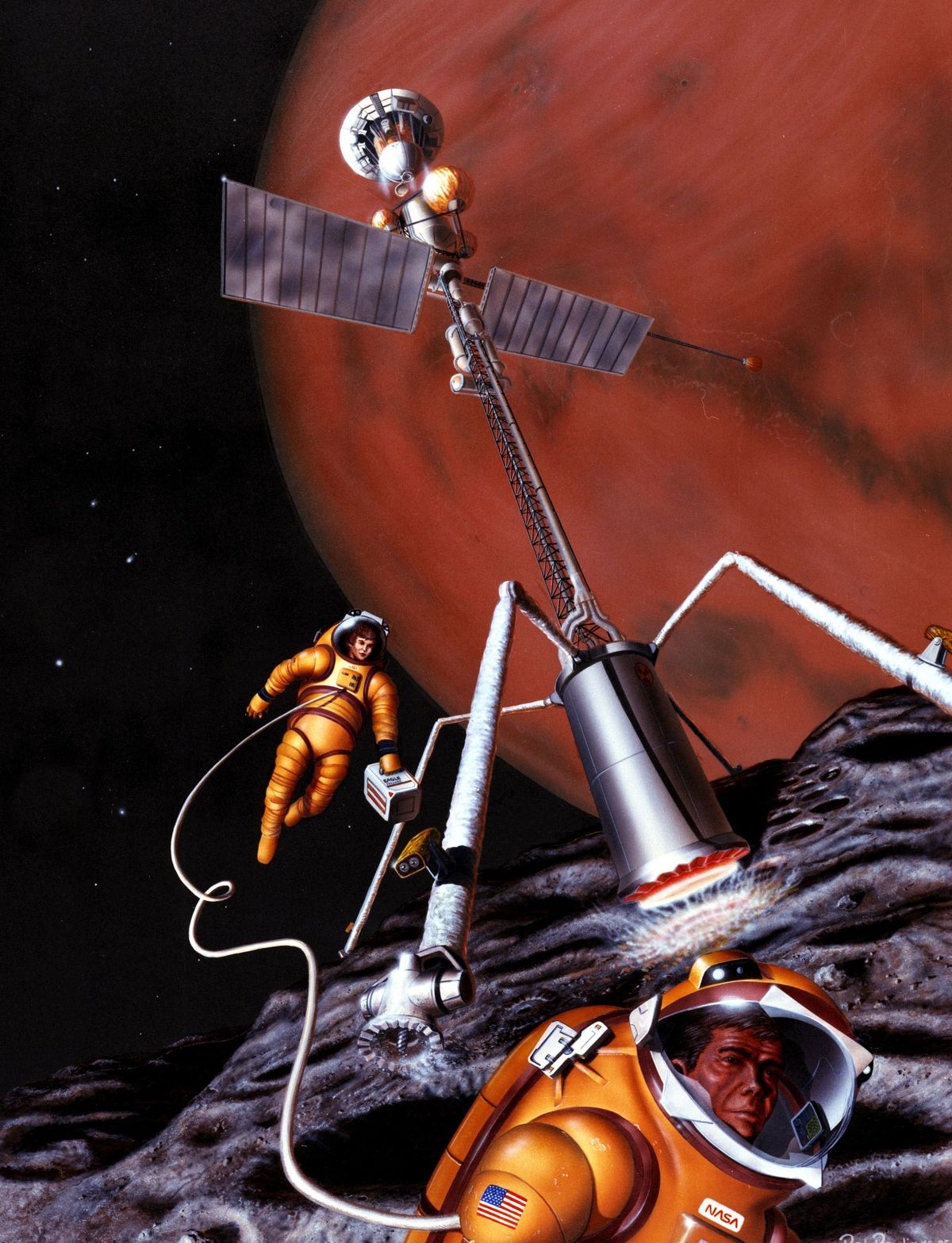1986 NASA painting of humans mining Mars's Moon Phobos for resources - the same idea could be used to mine for resource for an orbital colony exploring Mars by telerobotics