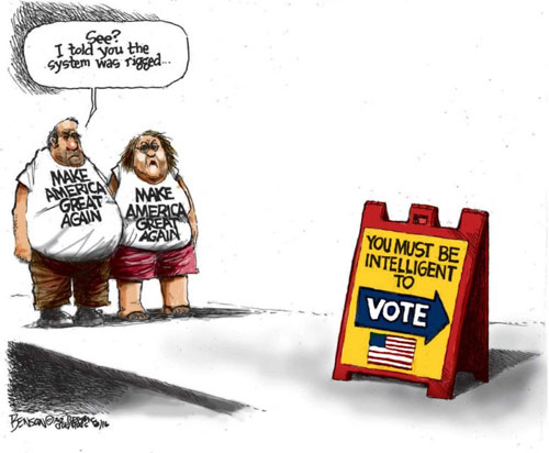 Image result for cartoons on trump on rigged elections by media