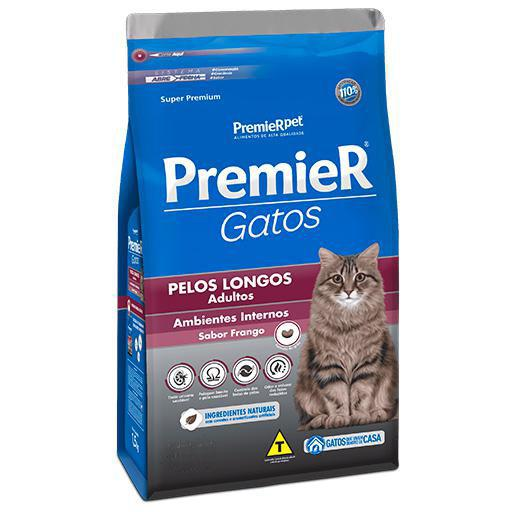 Ração Premier Gatos Adultos Pelos Longos Ambiente Interno Frango 500grs