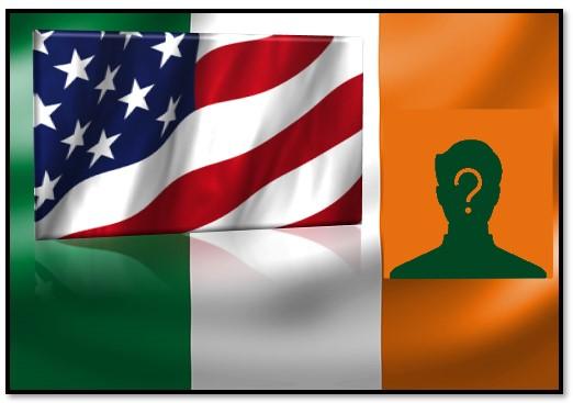 Drapeaux irlandais et américain superposés avec personne mystère pour origine irlandaise