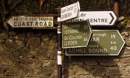 Par où commencer panneaux routiers irlandais