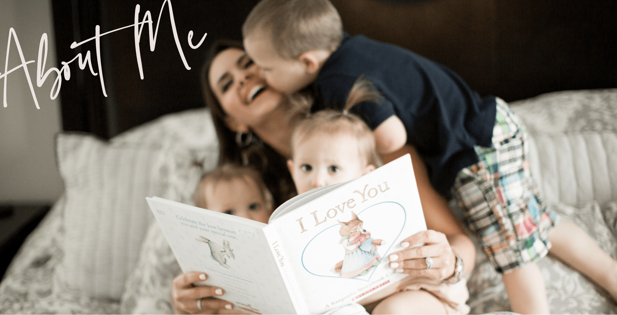 image of Racquel, a skin care expert, reading a book to her children