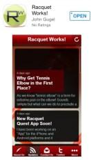 Racquet Quest Application Screen Shot