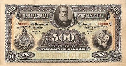 500 mil-réis império D. Pedro II