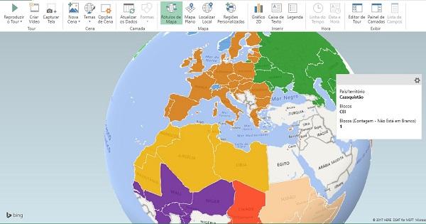 Blocos econômicos mapa 3D