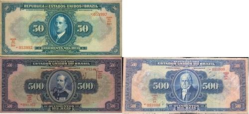 Família de cédulas milréis Estados Unidos do Brasil