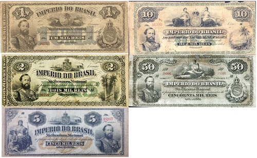 Família de cédulas mil-réis do Império D. Pedro II jovem
