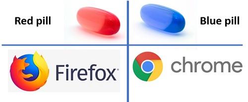 Navegadores red pill x blue pill