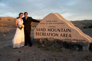 Danielle and Ryan at Sand Mountain for their wedding