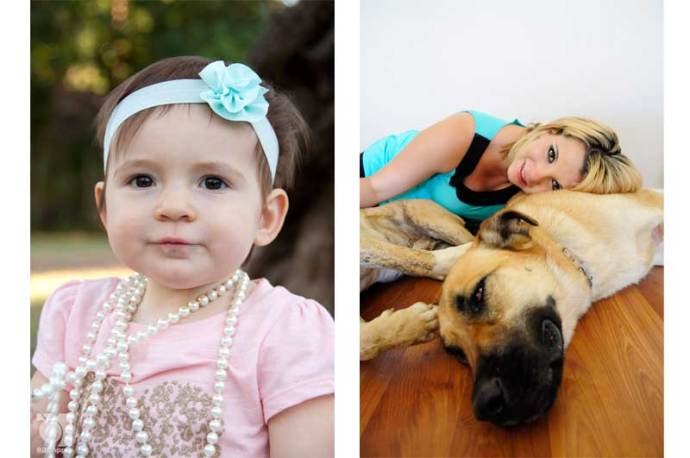 one year baby photo and girl with dogs