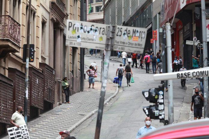 Foto da região central de sao paulo com baixo movimento e lojas fechadas Paulo Pinto/FotosPublicas
