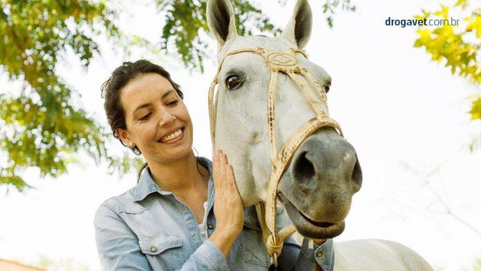 foto divulgacao - mulher afaga cavalo - divulgação DrogaVet