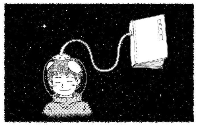 ilustracao crianca vestida de astronauta no espaço conectada a um livro - imagem: Pixabay